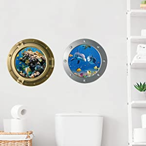 2PCS Ocean World Wall Stickers, HOLENGS 3D Porthole Peel and Stick Removable Wall Decals, Dolphins Coral Colony Fish Sea Life Wall Decor for Kids Nursery Bedroom Living Room Home Decoration