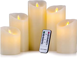 "Aku Tonpa Flameless Candles Battery Operated Pillar Real Wax Electric LED Candle Set with Remote Control Cycling 24 Hours Timer, Pack of 5 (H:4"" 5"" 6"" 7"" 8"")"