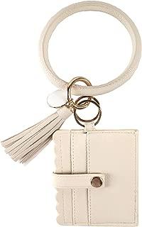 Wristlet Bracelet Keychain, ID Card Holder Purse with PU Leather Tassel Bangle Key Ring for Women Girls