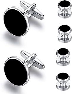 Honey Bear 6pcs Set Cufflinks and Studs -Silver, Black Onyx, for Men Shirts Tuxedo Wedding Gift