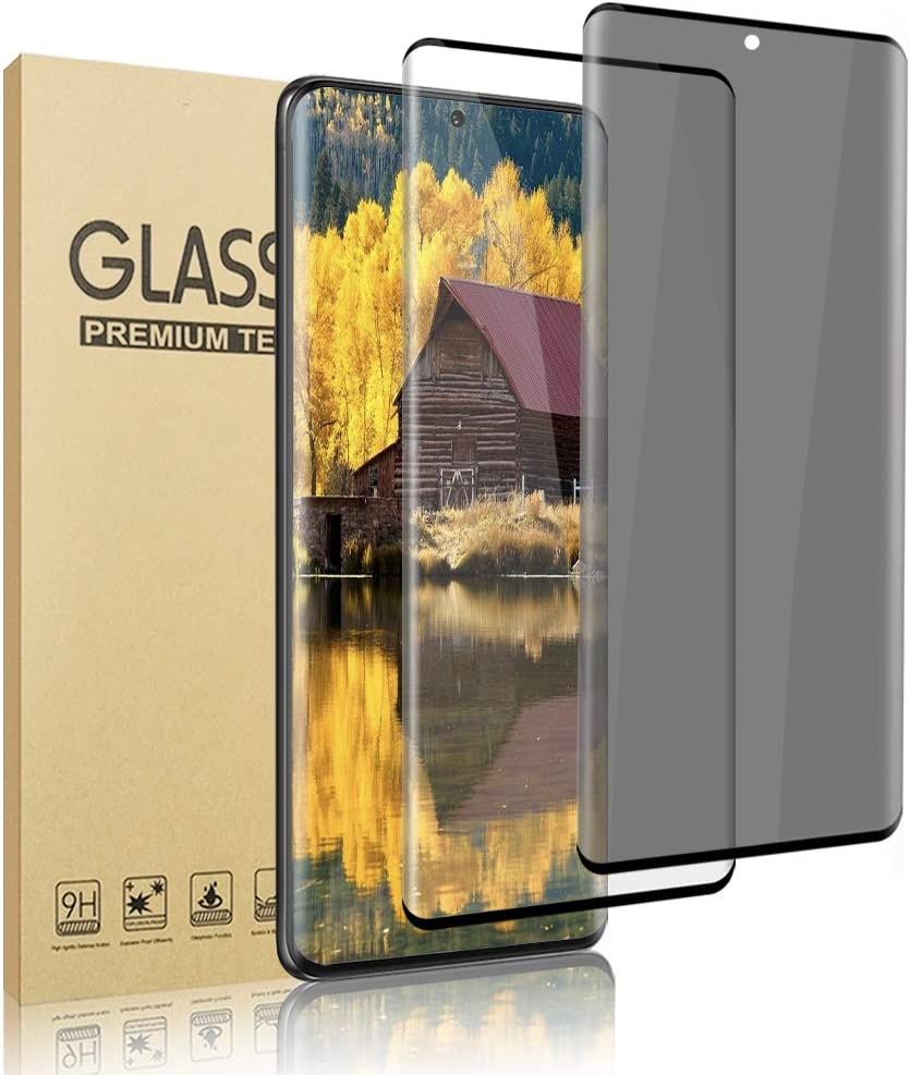 [2 Pack] Galaxy S21 Ultra Screen Protector [HD + Privacy Tempered Glass Film][ UltraSonic Fingerprint] [9H Hardness] [No-Bubble][Full Coverage] for Samsung Galaxy S21 Ultra 5G (6.8