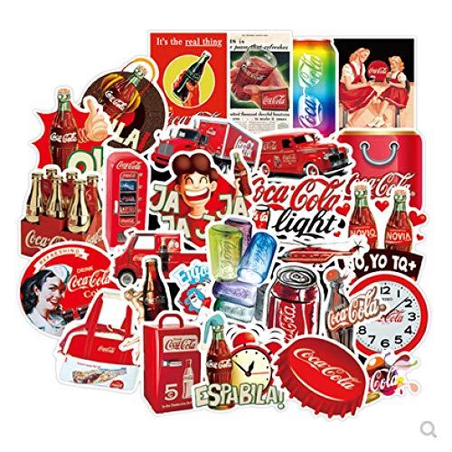 JZLMF Pegatinas de Coca-Cola para Equipaje, Pegatinas de Carro de Viaje Retro Europeas y Americanas, Pegatinas Impermeables para Casco de Ordenador, 50 Uds.