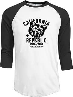 Men's California Republic Vintage Grizzly Bear Funny Cool 3/4 Sleeve Half Sleeve Shirt