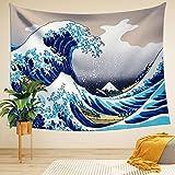 Ligicky Tapiz de pared hippie, Ukiyoe Hokusai, The Great Wave Off Kanagawa, colgante para pared, manta para pícnic, gamuza, mantel, decoración, decoración, para el hogar, para el salón y el dormitorio