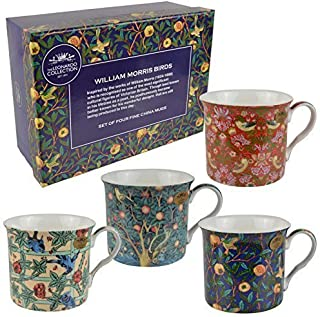 Leonardo Set Of Fine China Four Mugs By ; William Morris Birds Collection Gift Boxed
