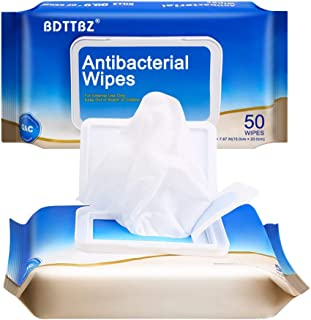 (US SHIPMENT) BDTTBZ 100pcs Disposable Hand Wipes, All Purpose Portable Cleaning Wet Wipes, Travel Size Adults Wipes for Family, Travel, Bathroom & Kitchen (2 Flip-Top Packs 50pcs)