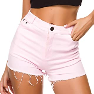 Denim Shorts for Women High Waist Shorts Butt Lifting Hot Pants,Pink,M