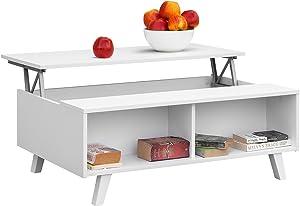 Comifort - Tavolino da caffè, per salotto / sala da pranzo, sollevabile, moderno, 100x 65,6x 38 cm