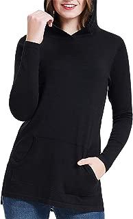 Women's High Low Hem Split Hooded Sweaters Pullover with Kangaroo Pocket