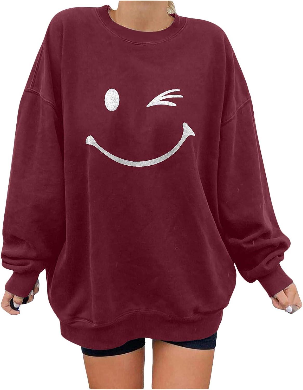 Sweatshirt for Women, Women's Happy Print Casual Printing Long Sleeve Sweatshirt Pullover Blouse Hoody Tops