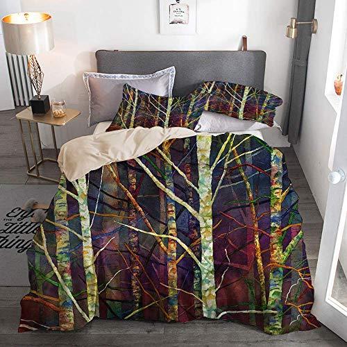 812 Housse de Couette avec taie,forêt Abstraite bouleaux forêt Branches Nature Abstraite Aquarelle décorative,140x200cm+2 taies d'oreillers 50x75cm