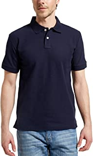 Men's Casual 100% Cotton Solid Short Sleeve Pique Polo Shirt