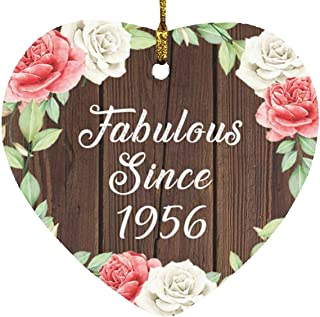 65th Birthday Fabulous Since 1956 - Heart Wood Ornament A Christmas Tree Hanging Decor - for Friend Kid Daughter Son Gran...