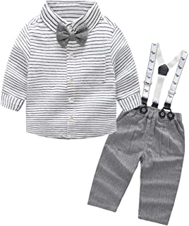 Baby Boys Long Sleeve Woven Striped Shirt+Bowtie+Suspender Pants with Straps Outfit