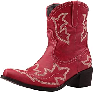 Women's Classic Embroidered Western Boots Ladies Retro Cowboy Ankle Boots