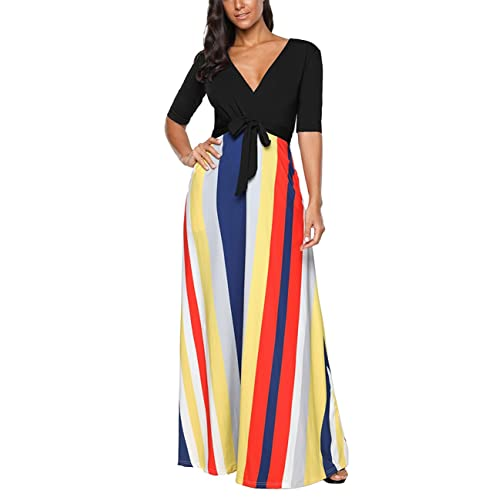 0c54844040e SELUXU Women s Summer Fashion Colorful Stripe Vintage Long Dress Evening  Party V Neck Half Sleeve Beach