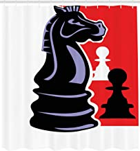 Ambesonne Board Game Shower Curtain, Chess Themed Pieces Design Pawn Silhouette and Knight, Cloth Fabric Bathroom Decor Set with Hooks, 105