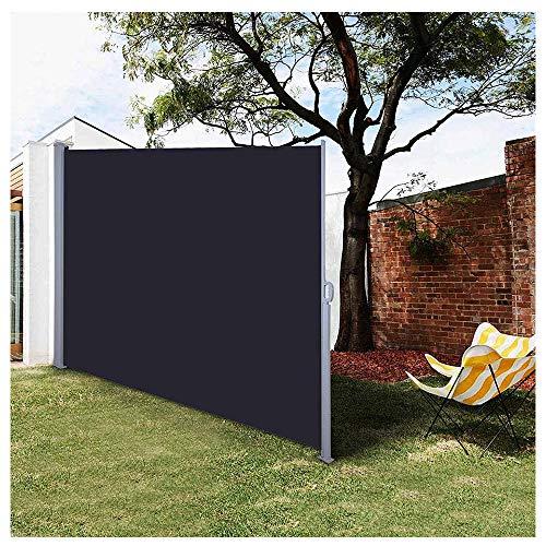 YOGANHJAT Toldo Lateral Separador retráctil Toldo Lateral Parasol Cortavientos Jardin Cenador Carpa Pérgola para Balcón Jardín Terraza o Patio Negro 160x300cm