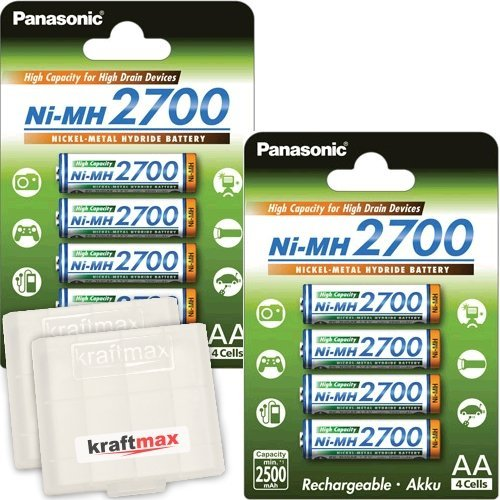 8er Pack Panasonic High Capacity 2700 NI-MH Akku BK-3HGAE - 8 Mignon AA Akkus in Akkubox