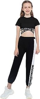 ملابس Nimiya للأطفال للبنات قطعتين للرقص الجمباز الرياضية ملابس قصيرة مع سروال ضيق رياضي طقم بدلة رياضية أسود ومتقاطع 8