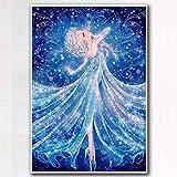 AINSS 40×30cm sin Pintura de Diamantes de Marco 3D Llena de Dibujos Animados de Diamantes Anna Elsa Princesa pequeña Sala de Estar DIY Diamante Cruz Llena de Diamantes