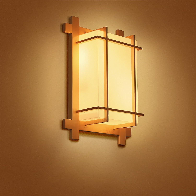 Wandleuchte Einfache Wandleuchte Wohnzimmer Schlafzimmer Nachttisch Massivholz Japanisch Stil Wandbeleuchtung