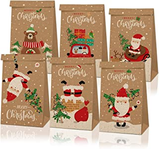 12Pcs Christmas Paper Gift Boxes with Handle, Christmas Element Assorted Bags for Christmas Party Supplies (6 Different St...