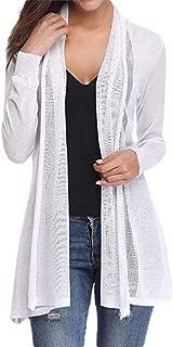Women Mesh Knit Draped Open Front Long Sleeve Sweater Cardigan