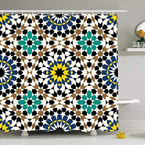 AdaCrazy Patrón Decorativo Tradicional Alhambra Árabe árabe Antiguo Colorido Azulejo Abstracto Geométrico Marroquí Microfibra Baño Cortina de baño Cortina de baño Moderna 71x71 Pulgadas