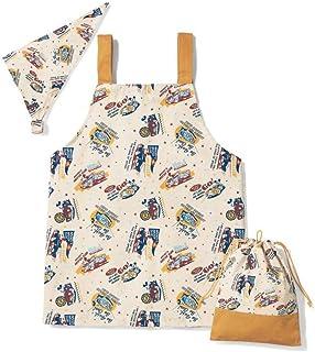 [ベルメゾン]ディズニー 通園 通学 食事関連 こどもエプロン&三角巾セット 巾着袋付き ミッキーマウス 120~130