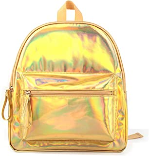 Holographic Laser Mini Backpack Iridescent Color Bookbag PU Leather Backpacks Travel Bags Casual Daypack School Bag