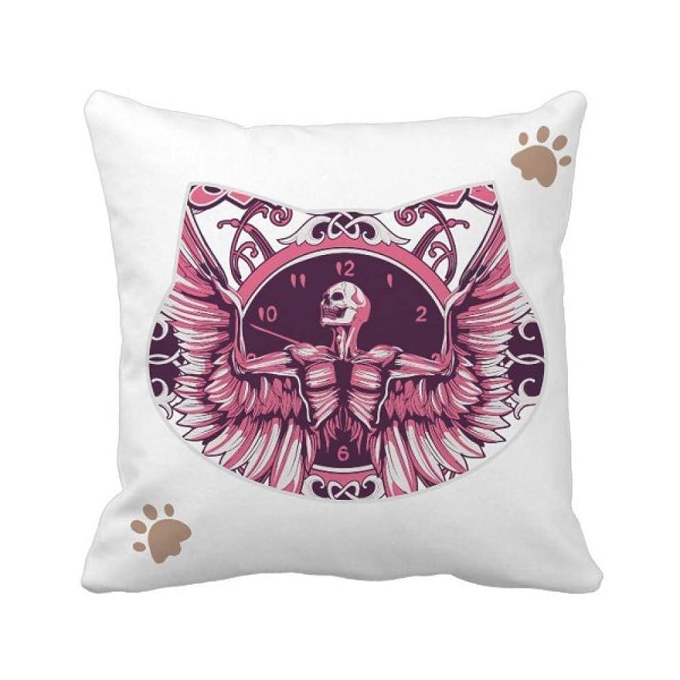 あらゆる種類の今日ブレーク落書き通りピンクスカルアングルクロックパターン 枕カバーを放り投げる猫広場 50cm x 50cm