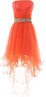 Women's Strapless Beaded High Low Prom Dresses Short Homecoming Gowns