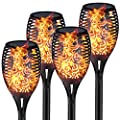 IDEER LIFE Solar Torch Lights, Waterproof Flickering Dancing Flames Torches Light, 96 LED Landscape Decoration Lighting Dusk to Dawn, Auto On/Off Outdoor Tiki Torch for Christmas/Halloween, 4 Pack