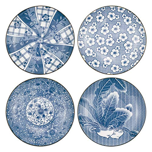 Yesland 4 Pack Blue and White Porcelain Serving Plates, 7 Inch Floral Dinner Shallow Plates / Blue Assorted Motifs Bowls for Pasta, Salad, Maincourse, Bread Butter Dinner Appetizer