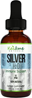 Kaiame Naturals Colloidal Silver, Ionic Silver Solution, 10 PPM, Large 4 oz Dropper in Glass Bottle, Natural Immune Support Supplement, Safe for Adults, Children, and Pets