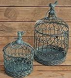 Moritz® – Gabbia Decorativa portacandela Antivento, Gabbia per Piante, Gabbia per Uccelli, Set da 2 Pezzi Giardino Shabby Grigio