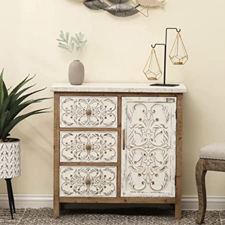 JAE Wooden Carved Chest of Drawers | Wooden Cabinet for Living Room | 3 Drawer and 1 Door | Antique White Brown Finish