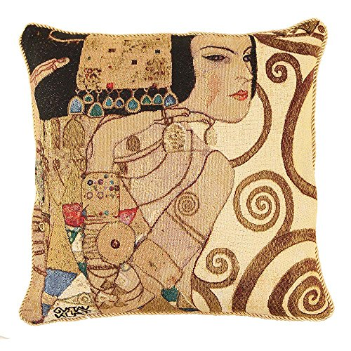 Signare Ungewöhnlich Mode Kissenbezug/Kissenhüllen 45x45cm Tapisserie Bunt Sofa Couch - Klimt/Tree of Life-Lady CCOV-Art-Klimt-1