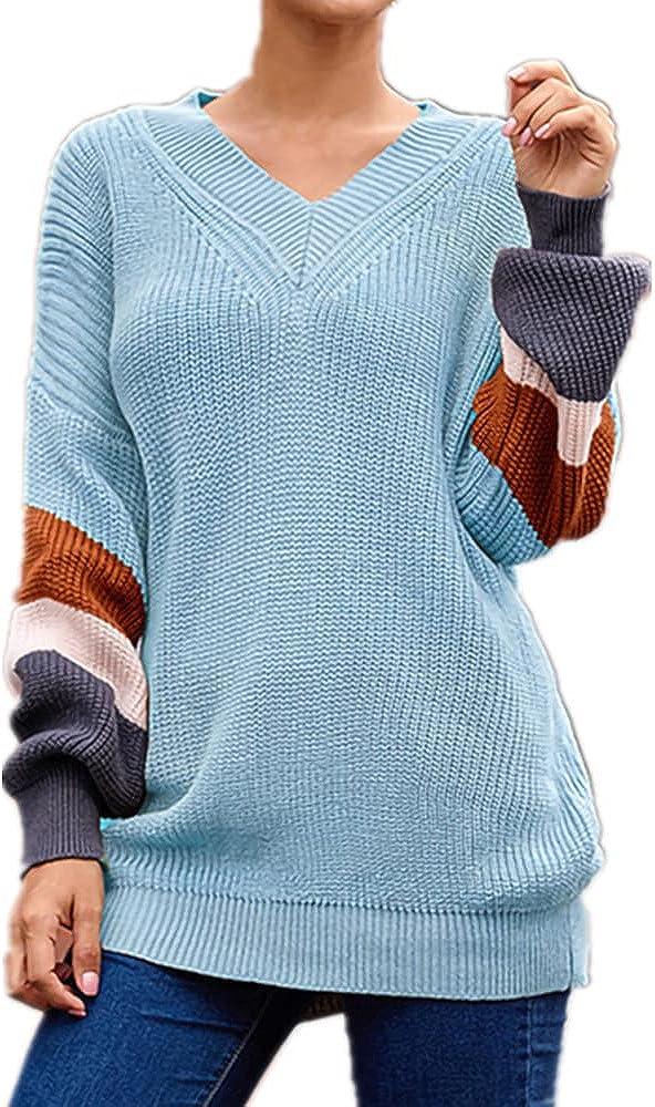 Autumn Winter Women's Long Sleeve Casual Acrylic Loose V-Neck Lantern Color