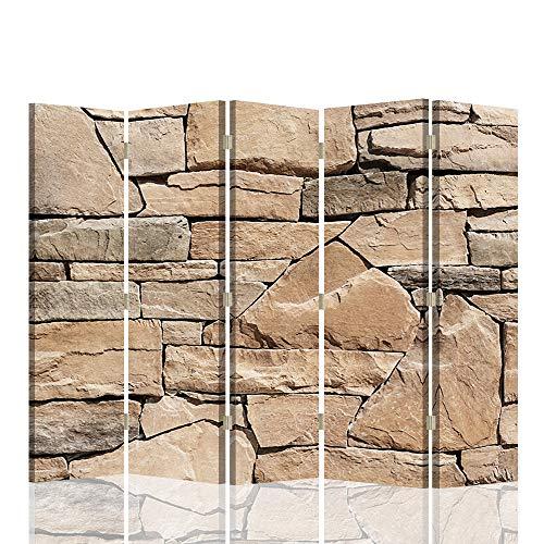 F FEEBY WALL DECOR Wandtrenner Raumteiler Stein Paravent beidseitig 5 TLG Abstrakt Beige 180x175 cm