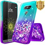 E-Began Case for LG V20 with Tempered Glass Screen Protector, Glitter Liquid Floating Waterfall Durable Girls Cute Luxury Phone Case for LG V20 (2016 Release) -Aqua/Purple