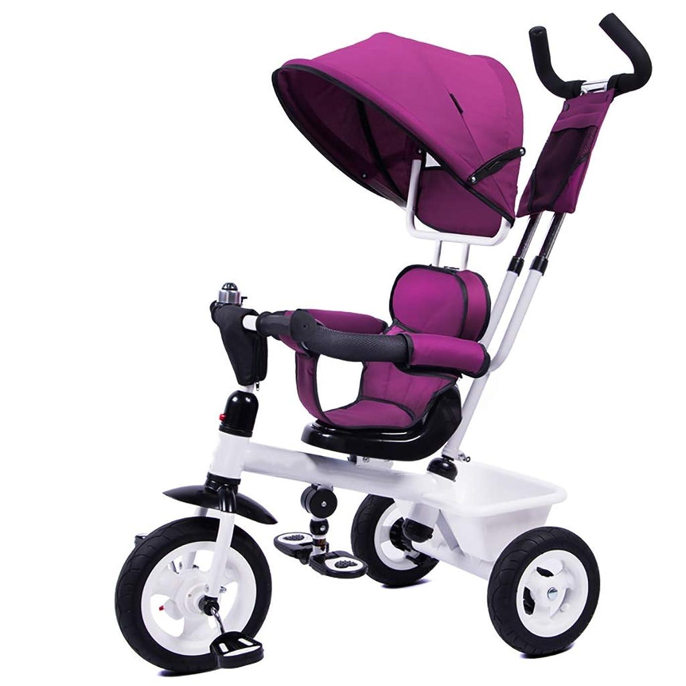 株式ロープ平行NBgy 子供の屋外の三輪車、1-6歳の女の子はプッシュハンドルの三輪車との1に付き4人、子供の日曜日の陰のトライク、3色 (Color : Purple)