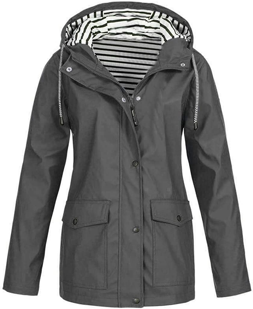 NRUTUP Women Solid Milwaukee Mall Limited time sale Rain Jacket Hood Plus Size Waterproof Outdoor