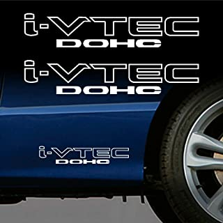"""2x For HONDA i-VTEC DOHC 12"""" Drift Vinyl Decal Sticker (WHITE)"""
