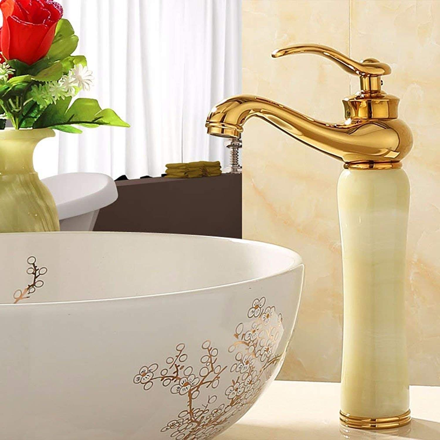 Mixer Water Tap copper European style platingmembrane jade Hot and cold golden