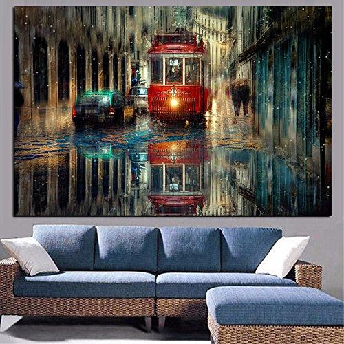 Moderne Malerei, kreative Malerei auf Kunst in der Stadt Lissabon, roter Bus, regnerischer Straßendruck, Ölgemälde der Leinwand, rahmenloses dekoratives Wandbild des Wohnzimmers A19 60x90cm