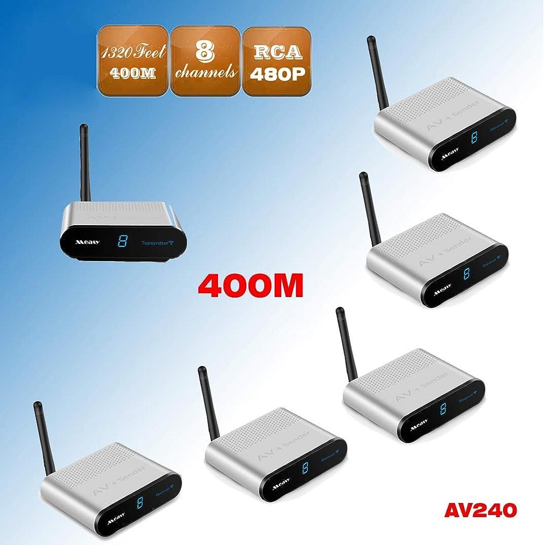 MEASY AV240-5 (1X5) 2.4GHz RF 400m Wireless AV Audio Video Sender Transmitter Receiver HD TV STB Extender to 400m/1320 feet with IR Remote Control