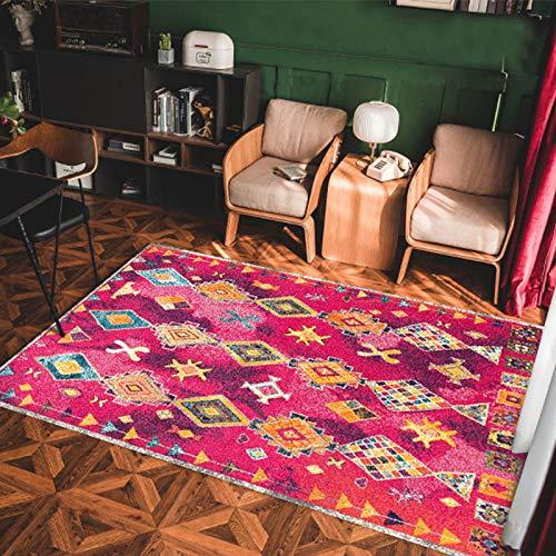 MMHJS European Retro Ethnic Style Floor Mats Simple Fashion Non-Slip Moisture-Proof Carpet Living Room Bedroom Hotel Bed And Breakfast Restaurant Carpet