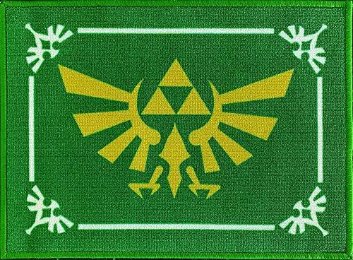 The Legend of Zelda Fußmatte Hyrule 50 x 70 Schmutzfangmatte mit rutschfester PVC Unterlage Fußabtreter Triforce Links Awakening Breath of the Wild Fußabstreifer für Außen und Innen pflegeleicht